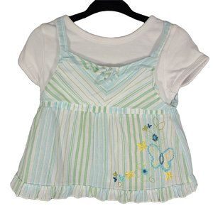 🍒3/$20🍒 Blue Green Striped Embroidered Shirt 2T